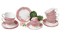 Чайный фарфоровый набор Фрагонар : 6 чашек 250 мл + 6 блюдец 15 см.