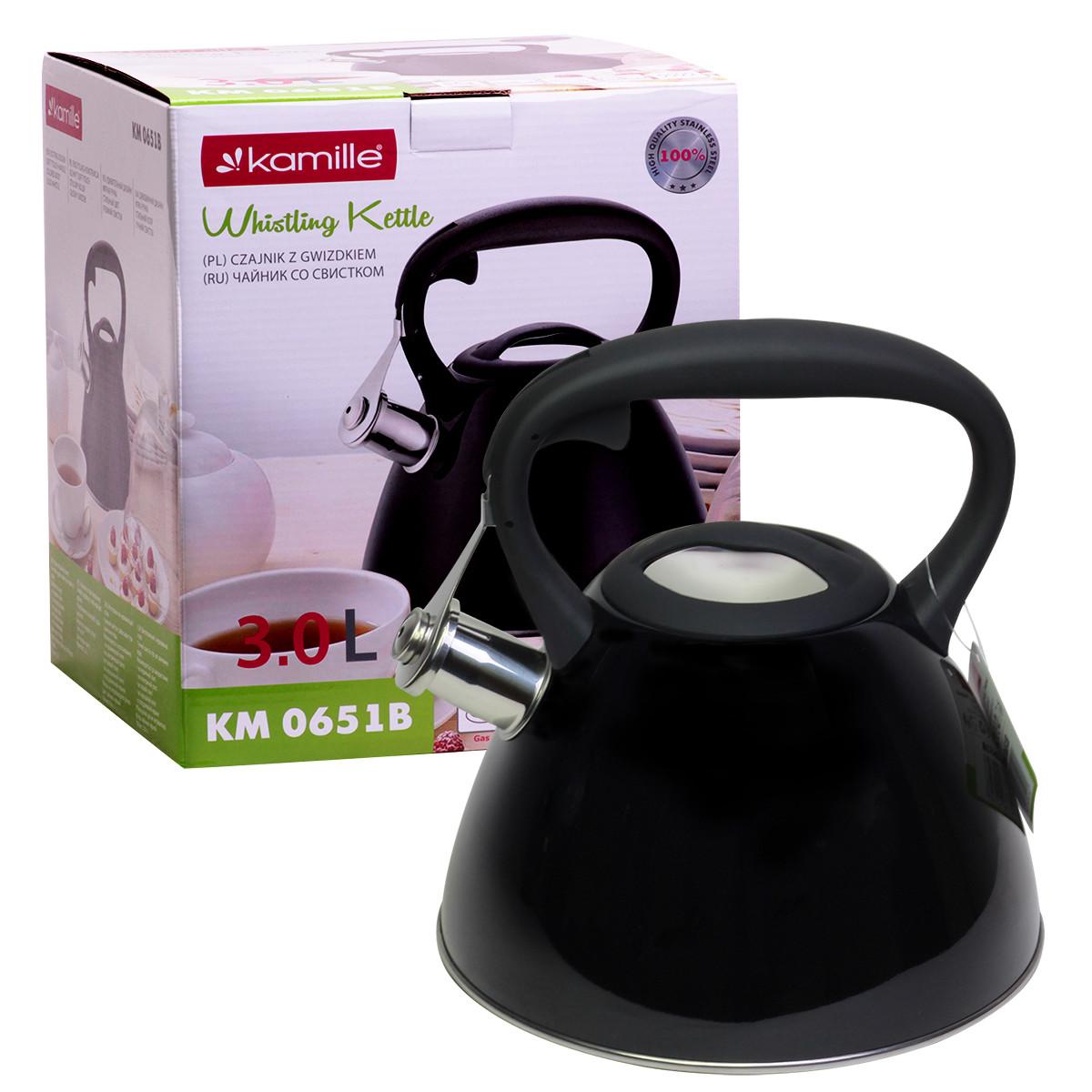 Чайник 3л из нержавеющей стали со свистком и черной бакелитовой ручкой (черный) KM-0651B