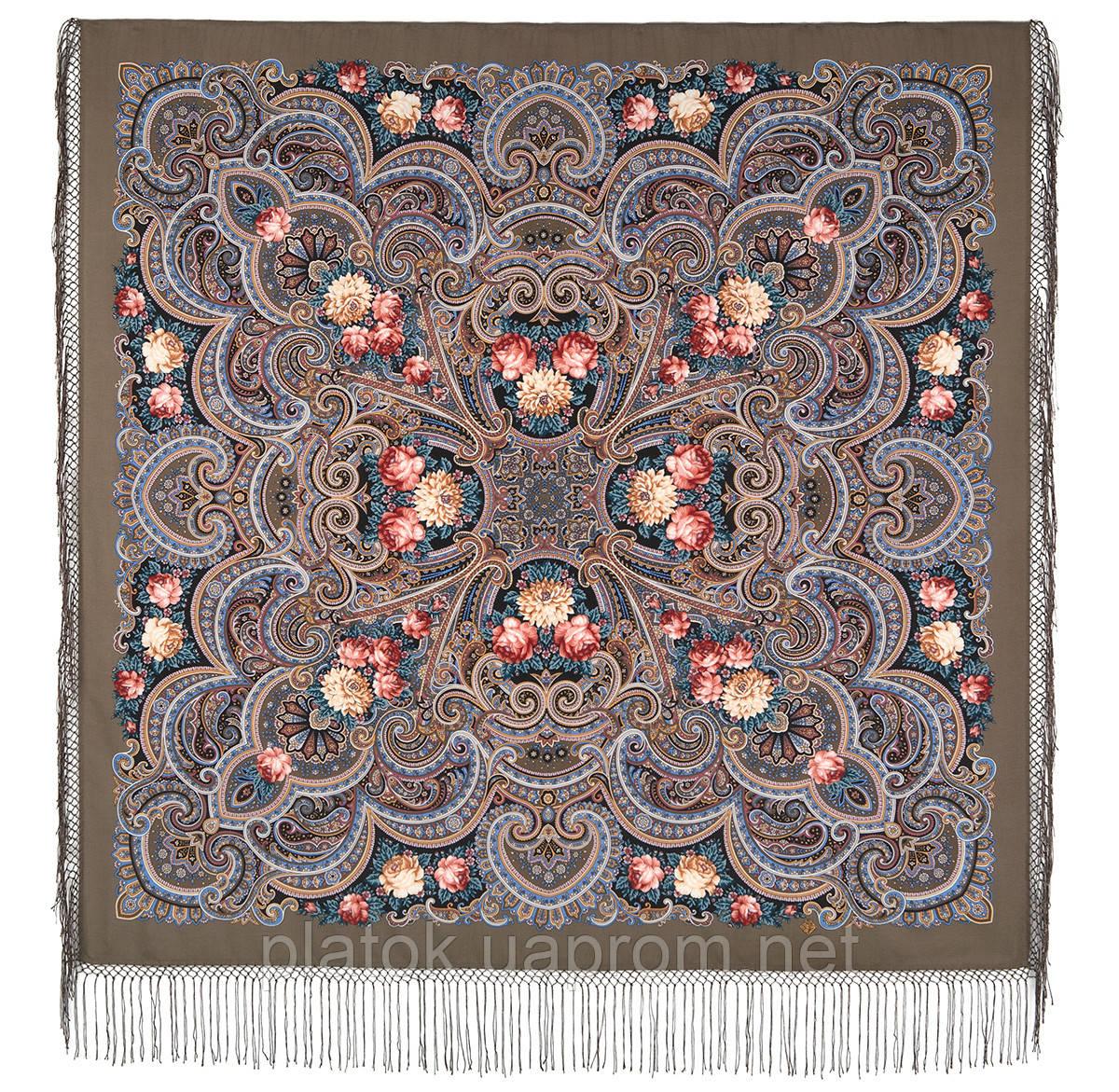 Исполнение желаний 1799-16, павлопосадский платок шерстяной (двуниточная шерсть) с шелковой вязаной бахромой