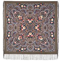 Исполнение желаний 1799-16, павлопосадский платок шерстяной (двуниточная шерсть) с шелковой вязаной бахромой, фото 1
