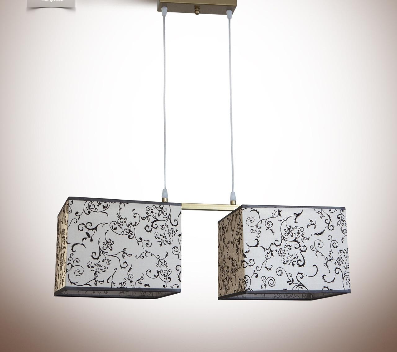 Люстра 2-х ламповая, металлическая с абажурами для спальни, кухни, детской 19322