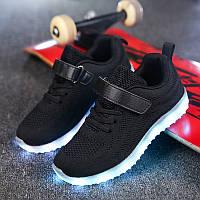 Black summer kids, Черные светящиеся кроссовки LED (USB подзарядка), размер 25,26 (LK 1060)