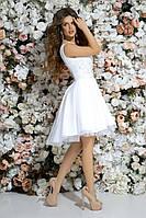 Выпускное платье красивое короткое удлиненное сзади гипюр с аппликацией+ габардин размер:42,44,46