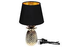 Лампа настольная Ананас с керамическим основанием и тканевым абажуром с золотым покрытием внутри, цвет - золот