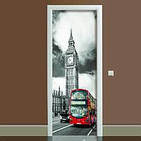 Наклейка на двері Лондон (повнокольоровий фотодрук, плівка для дверей, декор дверей)
