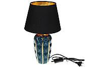 Лампа настольная с керамическим основанием и тканевым абажуром с золотистым покрытием внутри, цвет - малахитов, фото 1