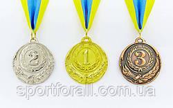 Медаль спортивная с лентой ZING d-5см C-4334 (металл, d-5см, 20g золото, серебро, бронза)
