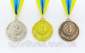 Медаль спортивна зі стрічкою 3шт d-5см C-4334 (метал 20g золото, срібло, бронза)