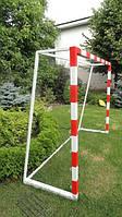 Ворота футбольные детские стальные 2000х1500 ( разборные) с полосами, фото 1