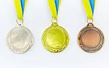 Медаль спортивная с лентой 1шт d-5см C-4334 (металл 20g золото, серебро, бронза), фото 5