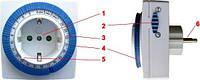 Суточный механический таймер-розетка, реле времени, таймер-реле включения/выключения на 220V