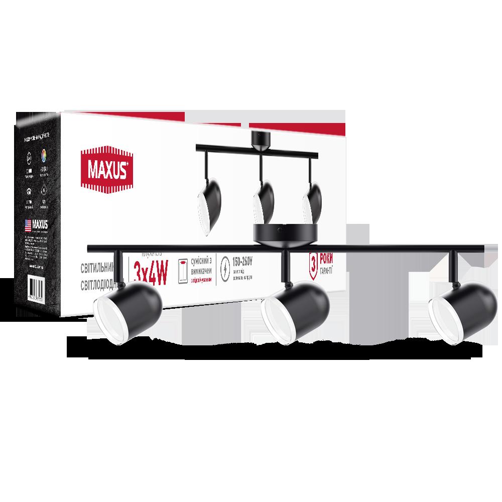 Спотовий світлодіодний світильник (бра) MAXUS MSL-01C 3x4W 4100K Чорний