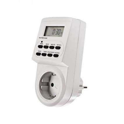 Цифровой электронный таймер-розетка, реле времени, таймер-реле включения/выключения на 220V, таймер освещения, фото 2