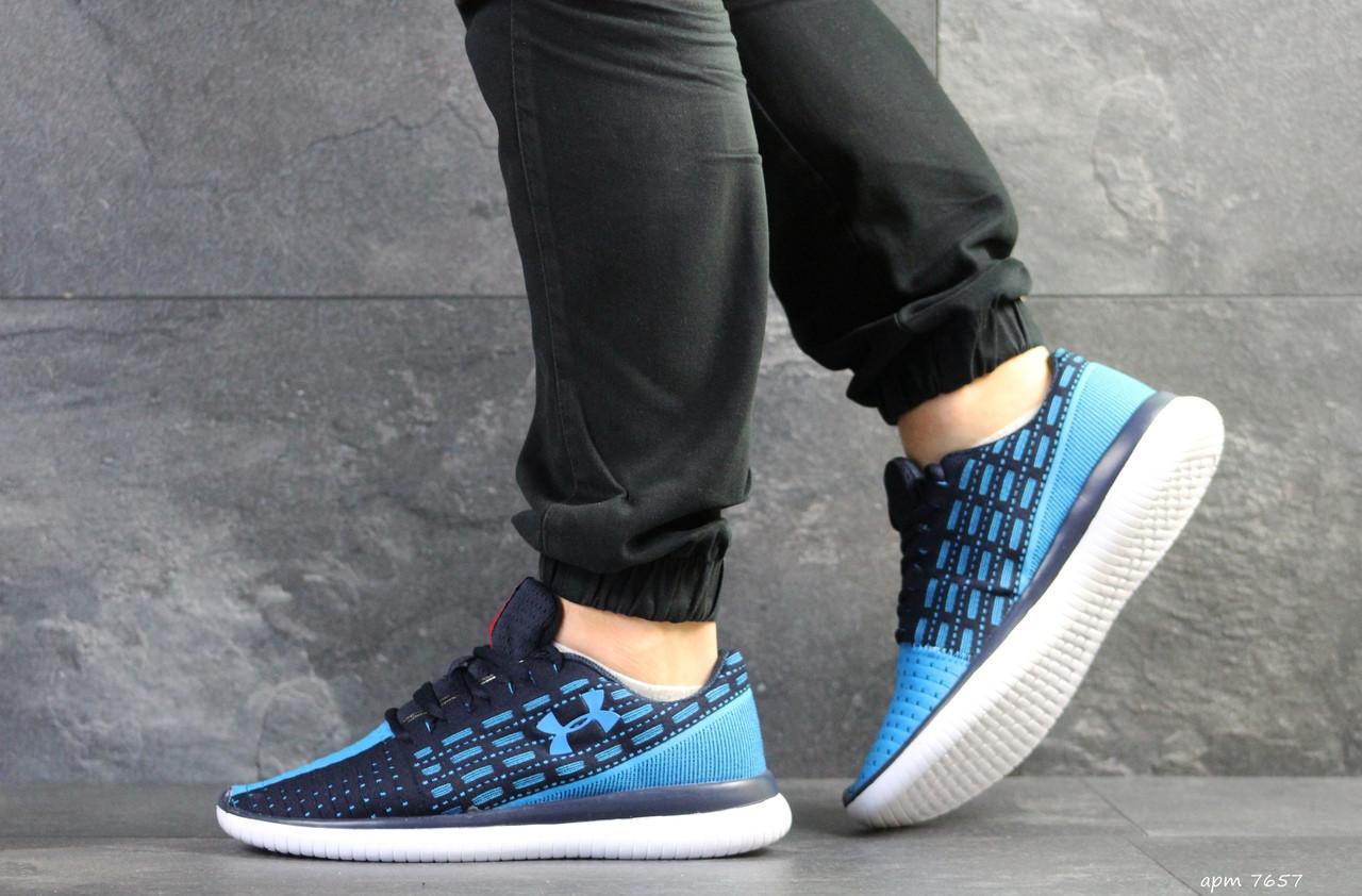 Кроссовки Under Armour,текстиль,темно синие с голубым