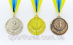 Медаль спортивная с лентой ZING d-6,5см C-4329 (металл, d-6,5см, 38g золото, серебро, бронза)