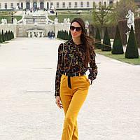 Женские высокие укороченные брюки с поясом