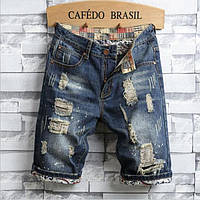Мужские шорты джинсовые с эффектом потертостей