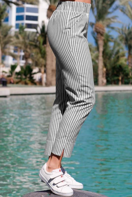 Укороченные брюки Паула в черно-белую полоску
