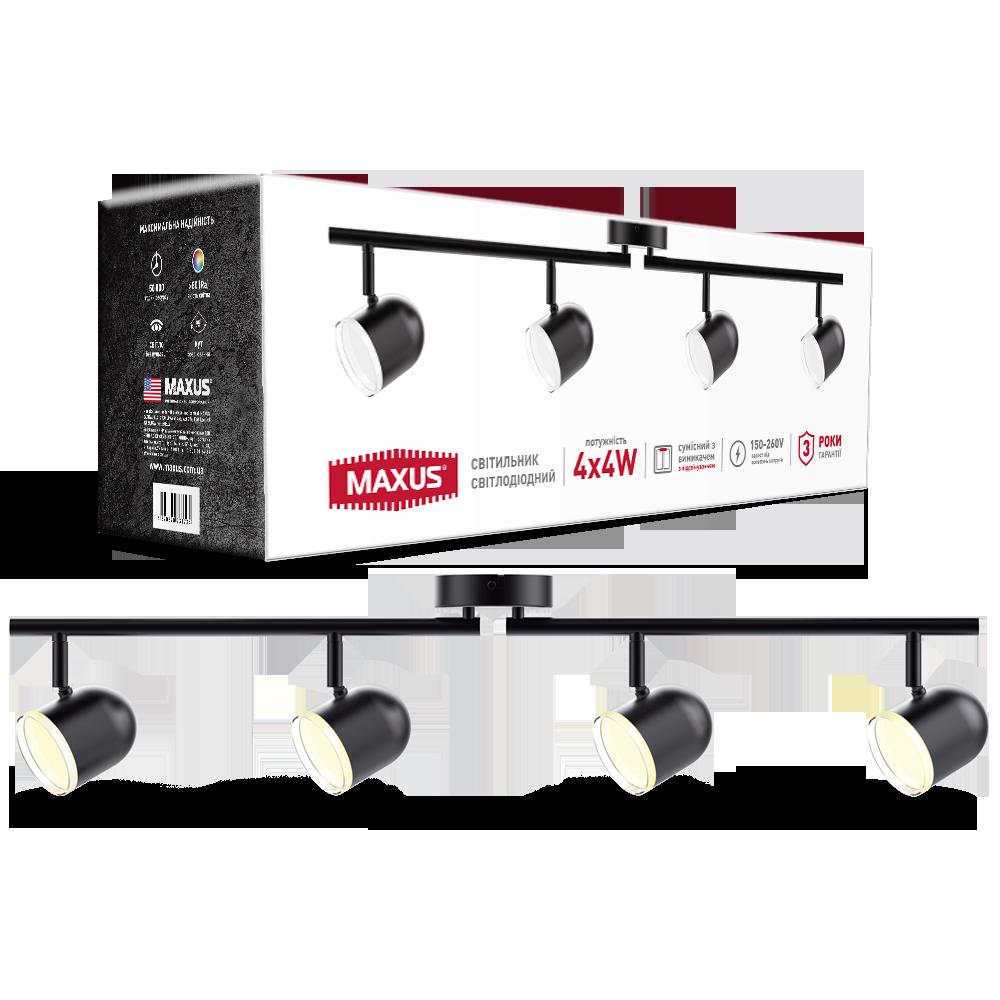 Спотовый светодиодный светильник (бра) MAXUS MSL-01C 4x4W 4100K Черный