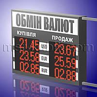 Светодиодное информационное табло обмен валют 830х600 двустороннее