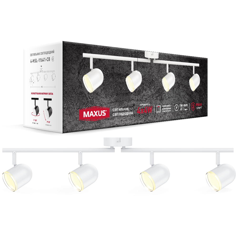 Спотовый светодиодный светильник (бра) MAXUS MSL-01C 4x4W 4100K Белый