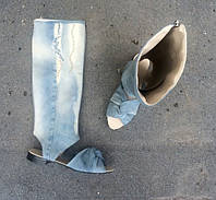 Сапоги джинсовые летние,носочек-крест, открытая пяточка из Ваших старых дждинс