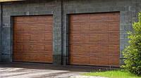Ворота гаражные секционные Alutech Trend филенка под дерево, торсионные пружины