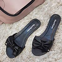 Сабо женские Masi Maluo черные натуральная кожа на маленьком каблуке