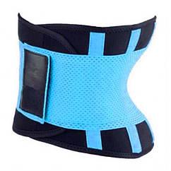 Пояс для похудения Hot Shapers Belt Power на липучке голубой, размер L