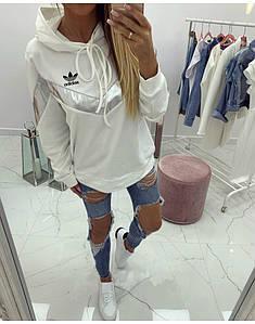 Ветровка женская белая Adidas.