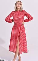 Платье летнее макси в горох ниже колена с рукавами на резинке с разрезом на ноге Цвет : Красный Размер : 42 44 46 Материал : Креп - шифон