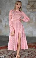 Платье летнее макси в горох ниже колена с рукавами на резинке с разрезом на ноге Цвет : Персиковый Размер : 42 44 46 Материал : Креп - шифон