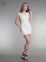 Женское короткое гипюровое платье белое, фото 1