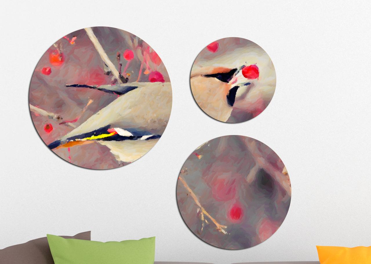 Фотокартина модульная Круглая 3 модуля Птица