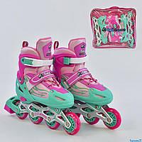 Роликовые коньки (ролики), размер L 38-41, колёса PVC, d=7см, переднее колесо свет Best Roller А 25520/04482