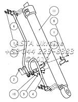 Правый цилиндр стрелы F2101 0200 00 00 на Jonyang 230E, фото 1