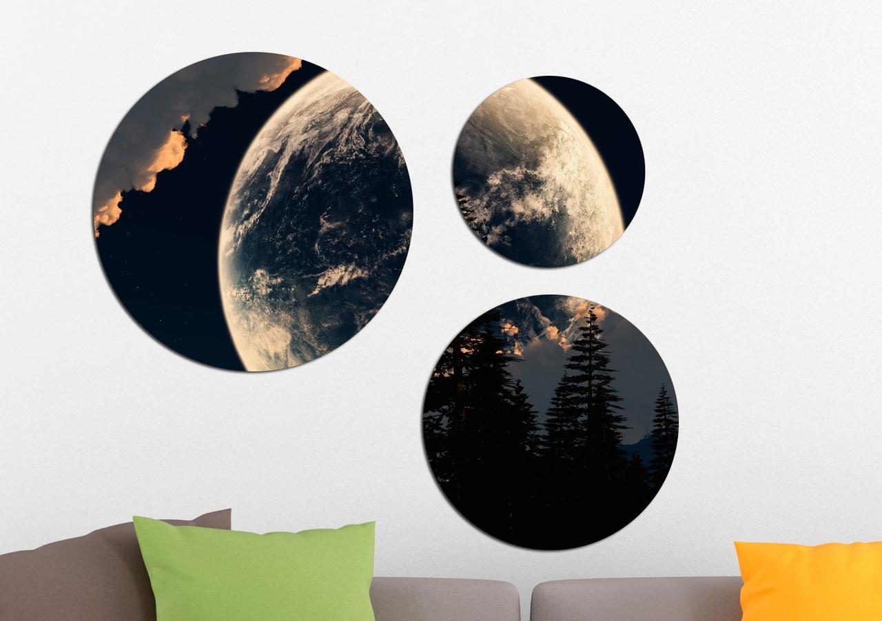 Фотокартина модульная Круглая 3 модуля Луна