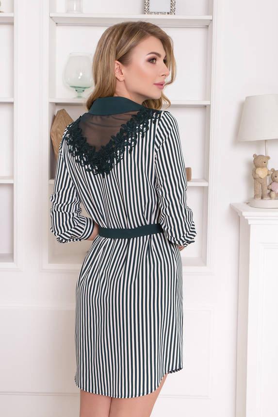 Нарядное платье рубашка изумрудное с кружевом , фото 2