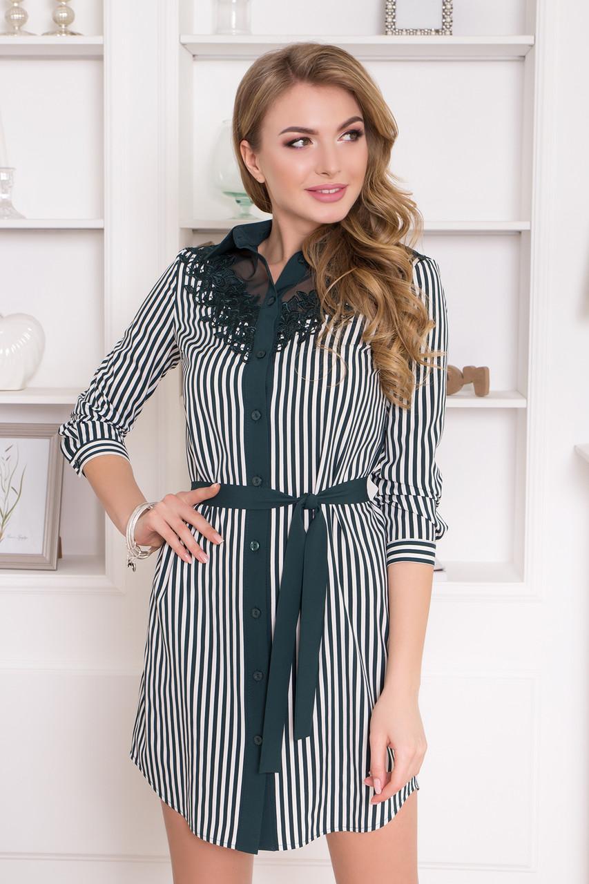 Нарядное платье рубашка изумрудное с кружевом