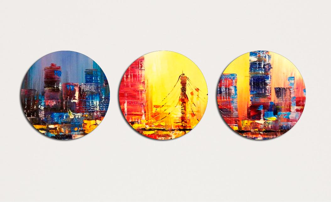 Картина модульная Круглая 3 модуля 30 смØ Городской пейзаж