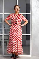 """Женское длинное платье в горох """"Алые паруса"""", код К-018, красное"""