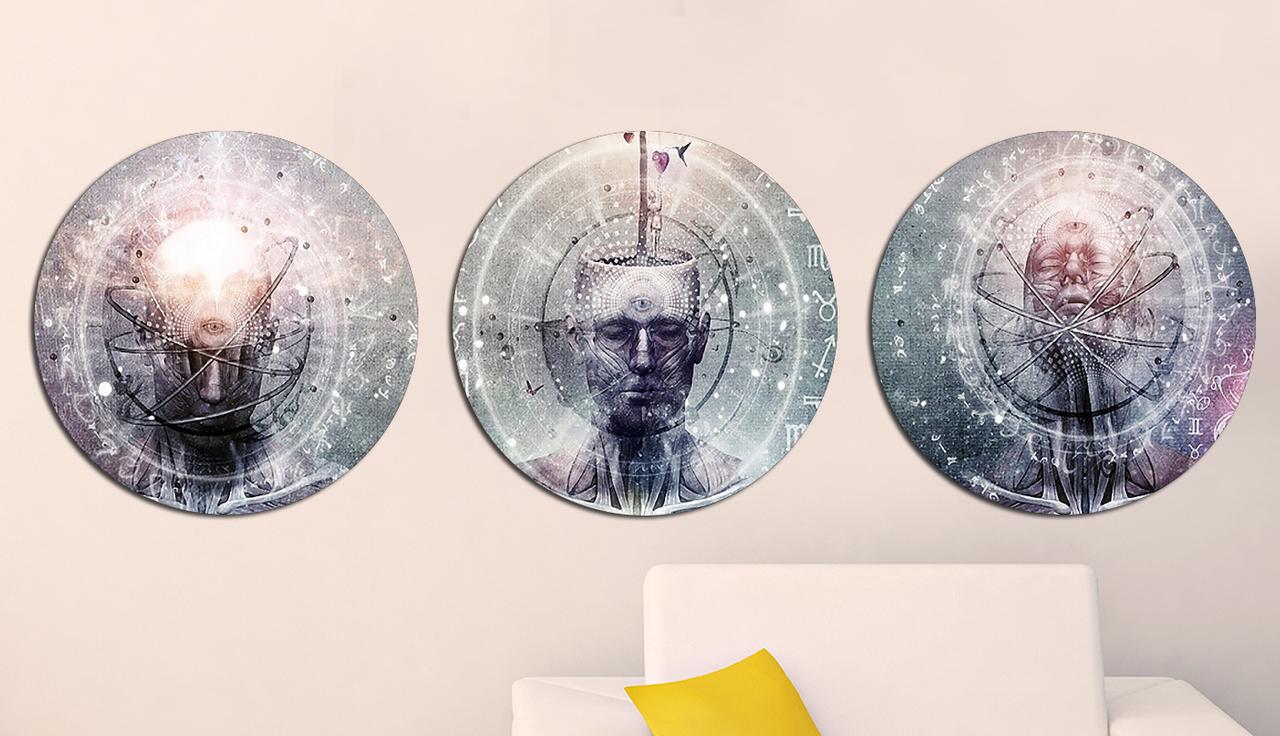 Картина из нескольких частей Круглая 3 модуля 40 смØ Абстракция