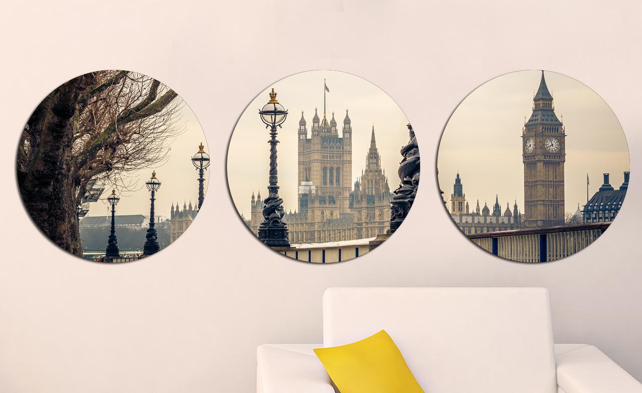Картина из нескольких частей Круглая 3 модуля 40 смØ Лондон