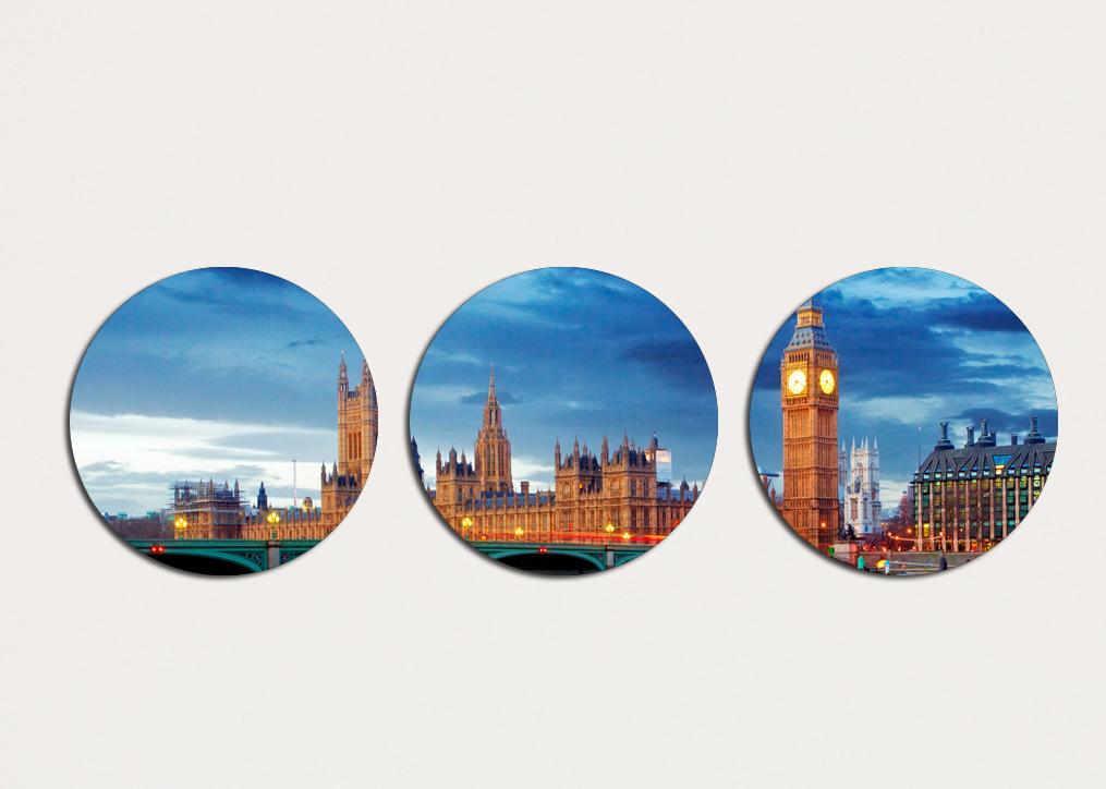 Картина из нескольких частей Круглая 3 модуля 30 смØ Лондон