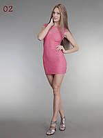 Женское короткое гипюровое платье теракот, фото 1
