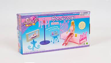 Набор кукольной мебели для спальни. В наборе - кровать: столик: торшер: телевизор