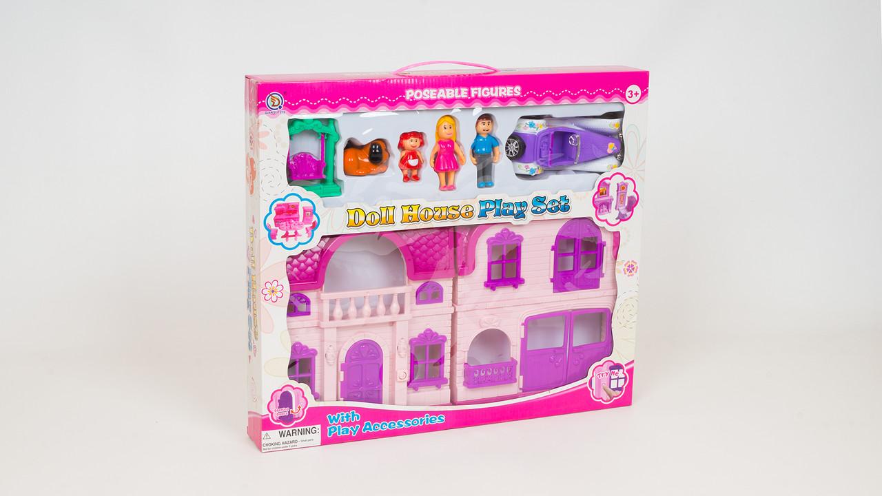 Кукольный домик с подсветкой. В комплекте - мебель: фигурки: машинка