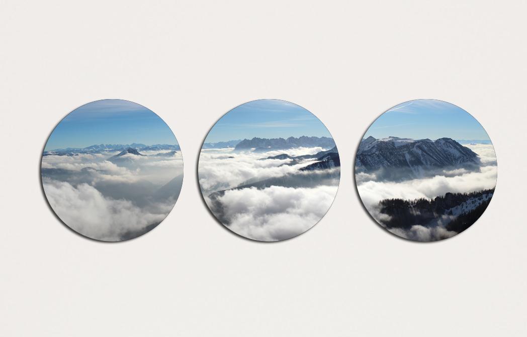 Модульная картина 3 модуля 30 смØ Круглая Горы в тумане