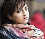 Палантин шерстяной 10263-1, павлопосадский шарф-палантин шерстяной (разреженная шерсть) с осыпкой, фото 6