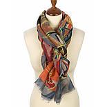 Палантин шерстяной 10263-1, павлопосадский шарф-палантин шерстяной (разреженная шерсть) с осыпкой, фото 2